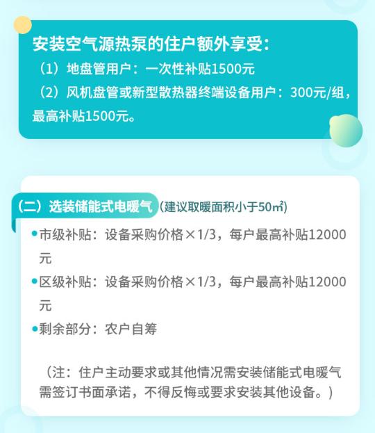 北京延庆:最高2.4万!热泵最高补1.2万,清洁取暖补贴政策